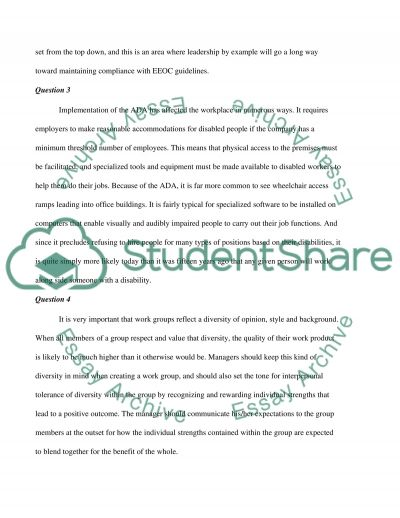 Discussion Question on Employment Pratices and legal Issues in Diversity essay example