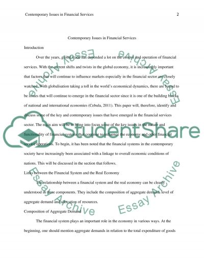 Contemporary Issues in Financial Services Essay example