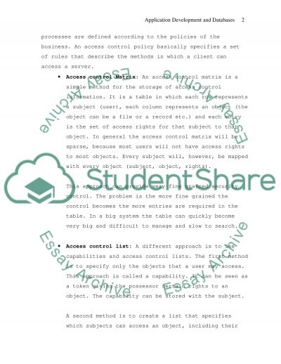 Application Development and Databases essay example