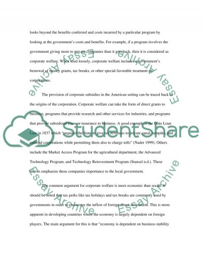 Government as a Social Tool or Business Partner essay example