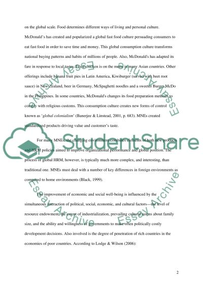 MNEs and Globalizations Essay example
