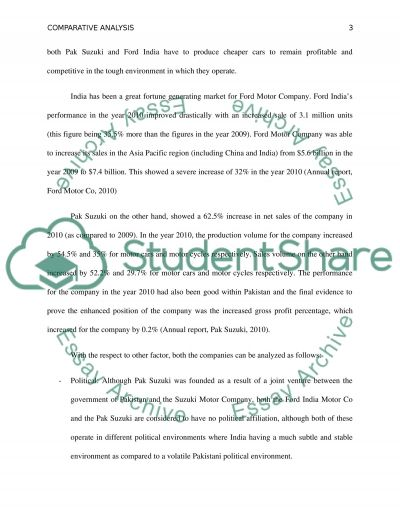 Comparative analysis between two DIFFERENT FIRMS in two different countries essay example