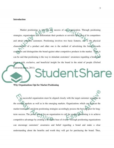 Positioning Term Paper example