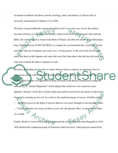 Randomised clinical trials essay example
