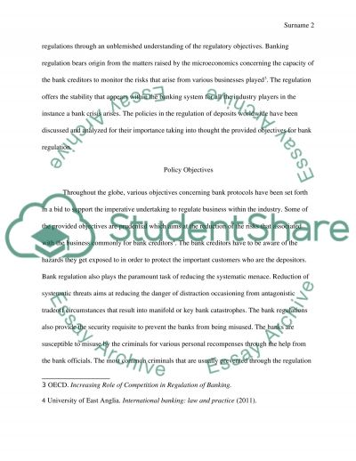 Regulation of Banks essay example