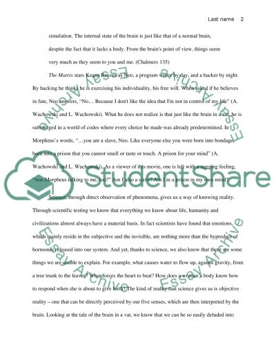 The Matrix and philosophical issues essay example
