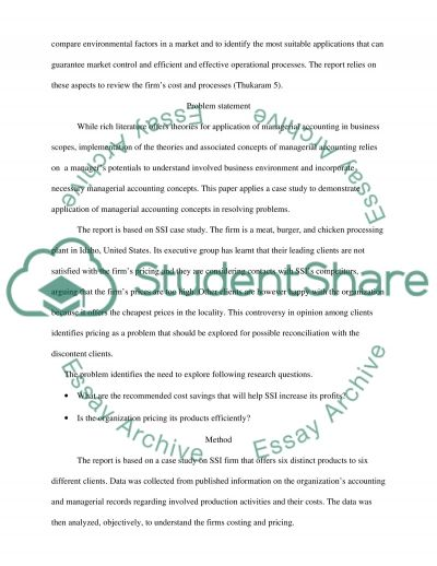 Managerial Accounting Final Report Essay example
