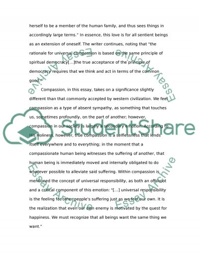 The Ethic of Compassion essay example