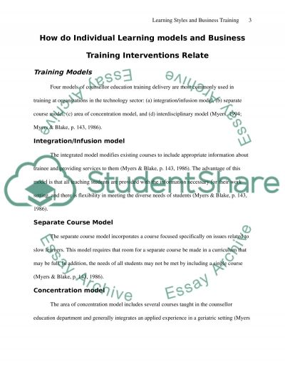 Learning Models and Business Training essay example