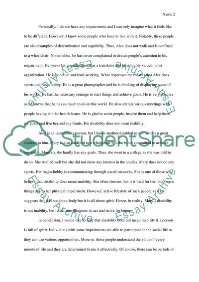 People are born with disabilities essay