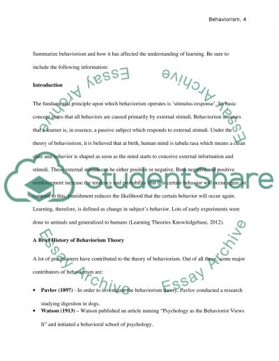 Behaviorism and Learning essay example