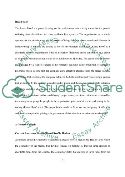 Marketing Communications campaign - Razed Roof charity essay example