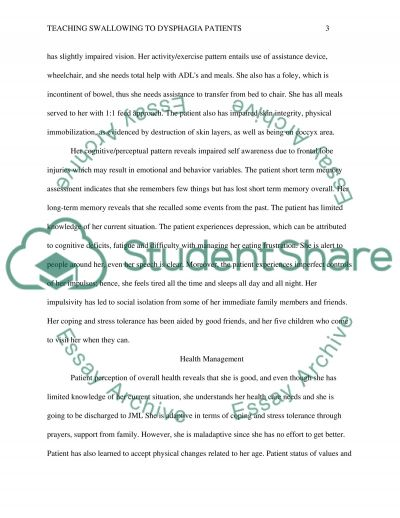 Teaching Swallowing to Dysphagia Patients essay example