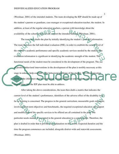 Workbook Summary for Individualized Education Programs