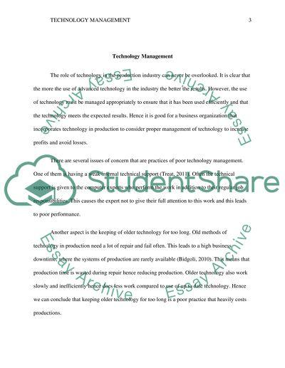 Technology Management Essay