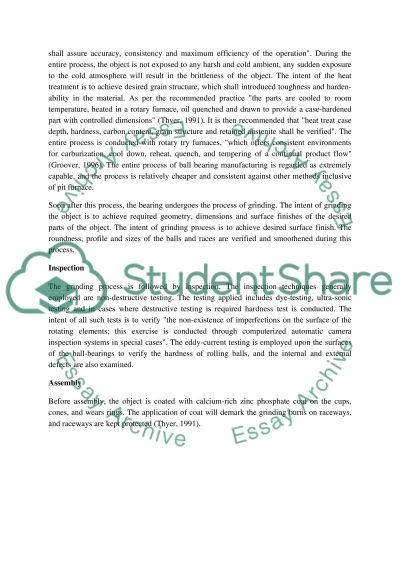 Manufacturing Bearings essay example
