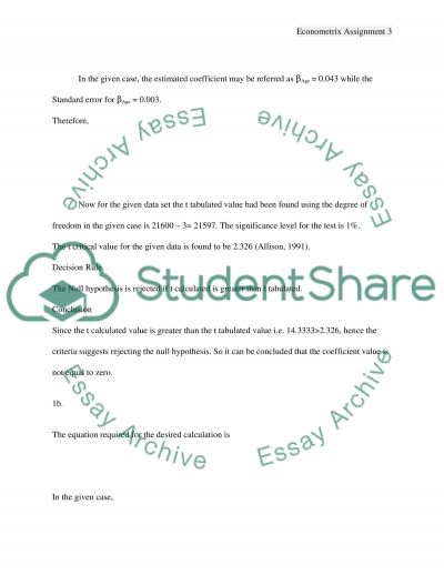 Econometrix Assignment essay example