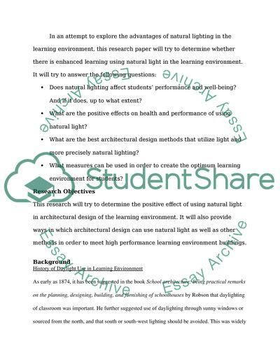 Enhancing Learning Through Architecture: Natural Light in Learning Environments: A Research Proposal