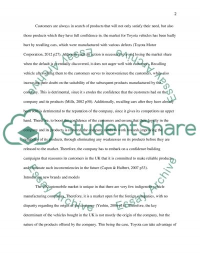 Strategic Marketing Management: Evaluation of the Key marketing strategies for Toyota in the UK essay example