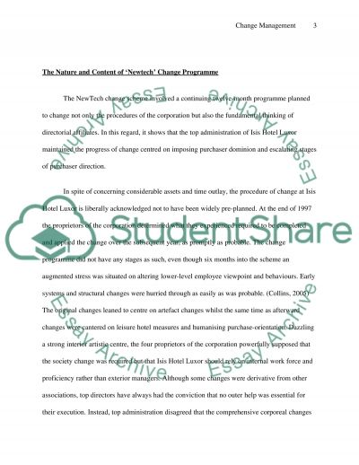 Change Management - one best way essay example