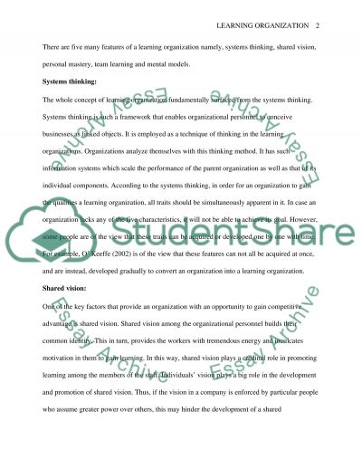 Learning organisation essay example