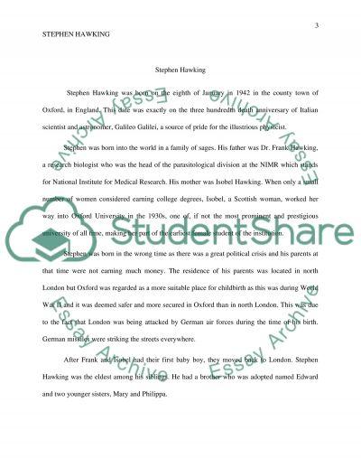 Dr. Stephen Hawking essay example