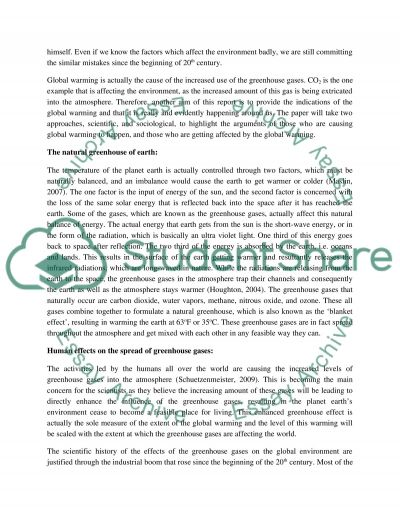 Global Warming: Causes, Effects and the Future essay example
