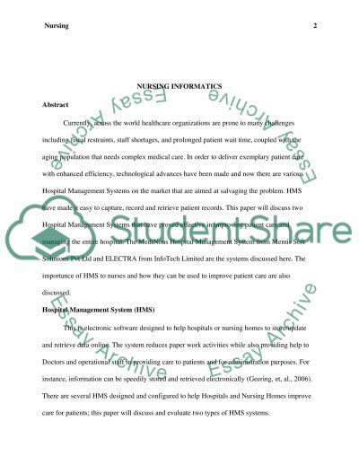 Nursing Informatics - Leadership essay example