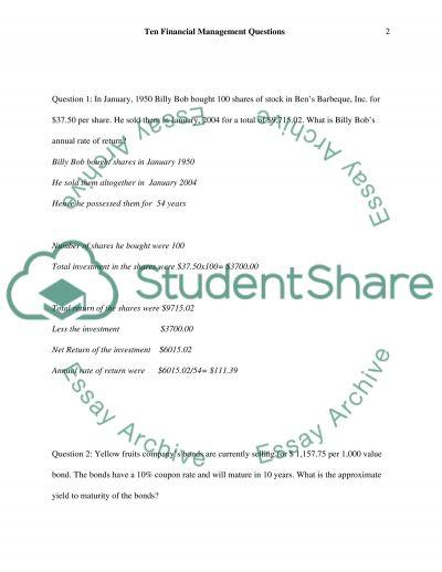 Ten Financial Management Questions essay example