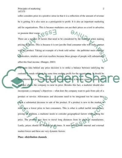 Principles of Marketing Bachelor Essay essay example