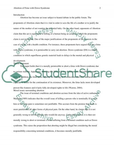 Abortion of Fetus with Down Syndrome essay example