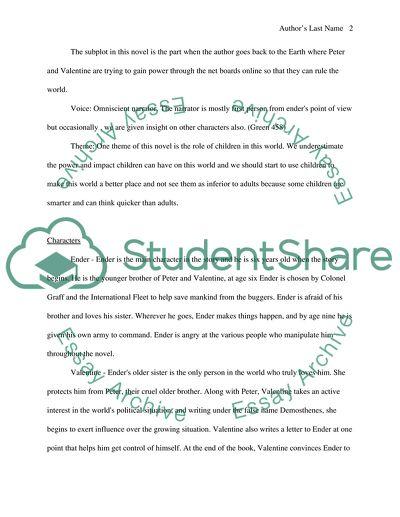 enders game essay topics