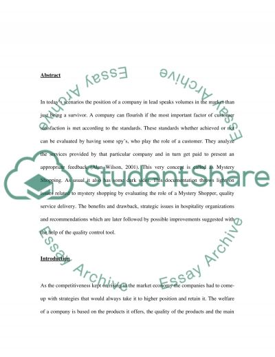 International service quality (the validity of a mystery shopper) essay example