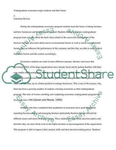 Undergraduate economics major students and their future