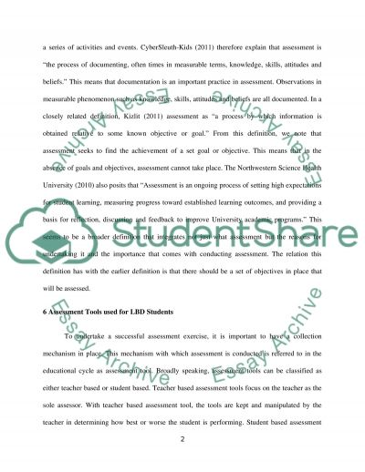 Function of 6 standardized assessment tools utilized with LBD students essay example