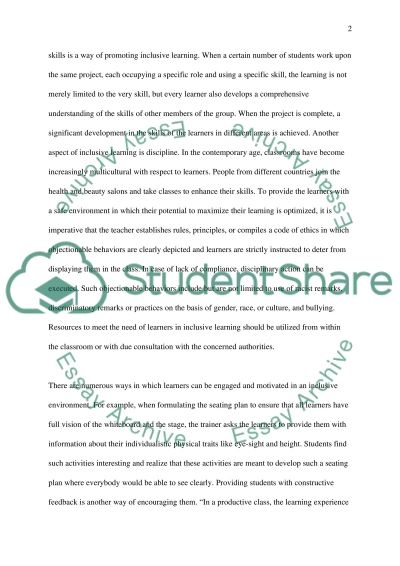 Inclusion and the Inclusive Learning Environment essay example