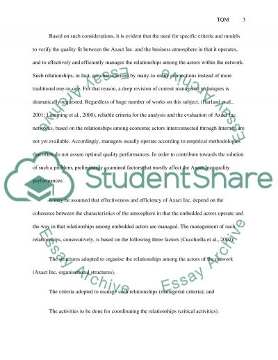 Total Quality Management Essay essay example