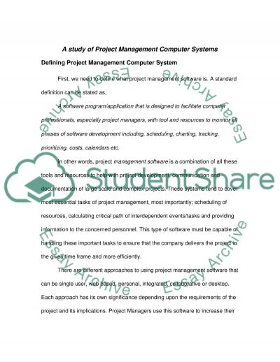 Project Management Computer Systems Essay example