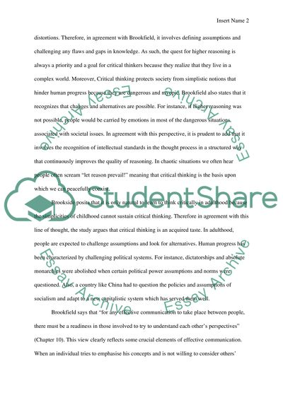 Critical Thinking Exposition Essay
