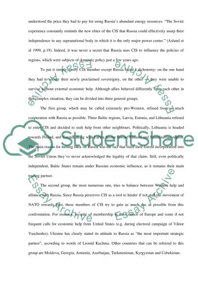 Commonwealth of Independent States essay example