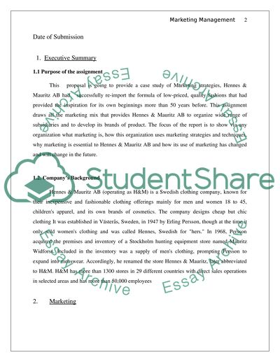 Marketing Management Research Paper