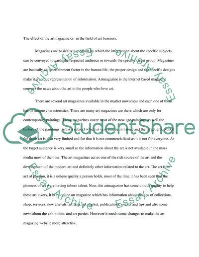 Present Artmagazine Company essay example