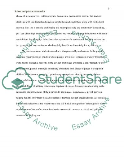 Why I want to be a school and guidance counselor essay example