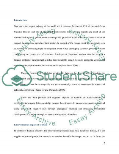 Tourism Management essay example