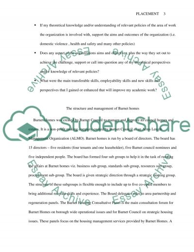 Work placement with Barnet Homes essay example