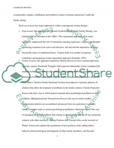Family Systems Therapy Essay example