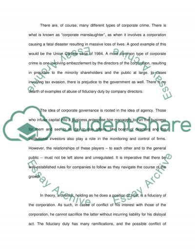 CORPORATE CRIME essay example