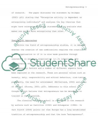 Entrepreneurship Master Essay essay example