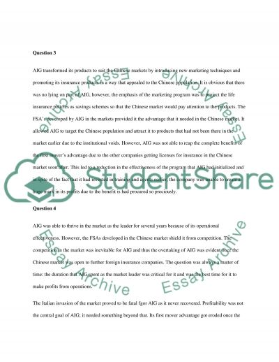 AIG Insurance essay example