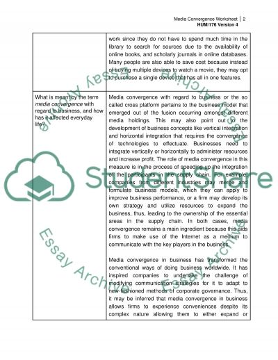 Media Convergence Worksheet
